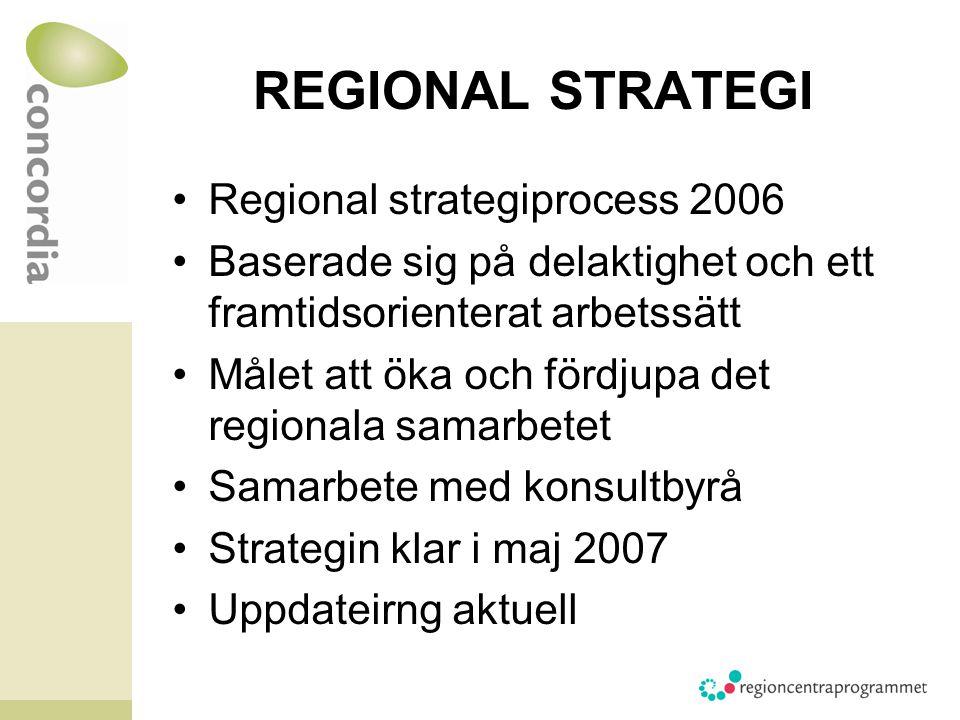 REGIONAL STRATEGI Regional strategiprocess 2006 Baserade sig på delaktighet och ett framtidsorienterat arbetssätt Målet att öka och fördjupa det regionala samarbetet Samarbete med konsultbyrå Strategin klar i maj 2007 Uppdateirng aktuell