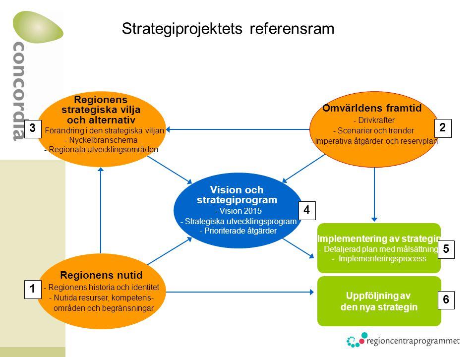 Regionens strategiska vilja och alternativ - Förändring i den strategiska viljan -Nyckelbranscherna -Regionala utvecklingsområden Vision och strategiprogram - Vision 2015 -Strategiska utvecklingsprogram -Prioriterade åtgärder Omvärldens framtid -Drivkrafter -Scenarier och trender -Imperativa åtgärder och reservplan Regionens nutid -Regionens historia och identitet -Nutida resurser, kompetens- områden och begränsningar 2 3 1 4 Implementering av strategin - Detaljerad plan med målsättning - Implementeringsprocess 5 Uppföljning av den nya strategin 6 Strategiprojektets referensram
