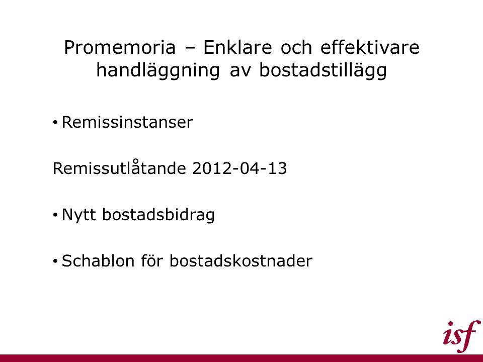 Promemoria – Enklare och effektivare handläggning av bostadstillägg Remissinstanser Remissutlåtande 2012-04-13 Nytt bostadsbidrag Schablon för bostads