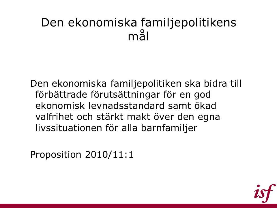 Den ekonomiska familjepolitikens mål Den ekonomiska familjepolitiken ska bidra till förbättrade förutsättningar för en god ekonomisk levnadsstandard s