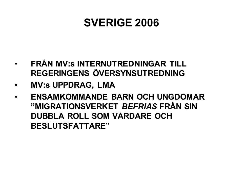 """SVERIGE 2006 FRÅN MV:s INTERNUTREDNINGAR TILL REGERINGENS ÖVERSYNSUTREDNING MV:s UPPDRAG, LMA ENSAMKOMMANDE BARN OCH UNGDOMAR """"MIGRATIONSVERKET BEFRIA"""