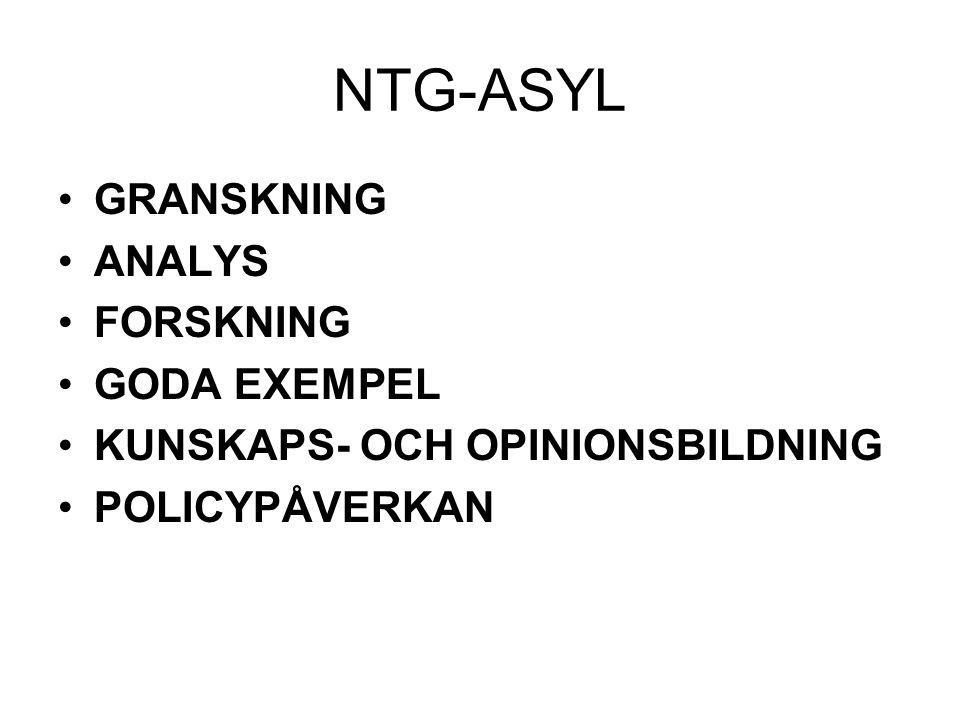 NTG-ASYL GRANSKNING ANALYS FORSKNING GODA EXEMPEL KUNSKAPS- OCH OPINIONSBILDNING POLICYPÅVERKAN