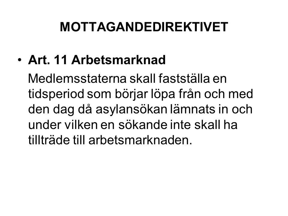 MOTTAGANDEDIREKTIVET Art. 11 Arbetsmarknad Medlemsstaterna skall fastställa en tidsperiod som börjar löpa från och med den dag då asylansökan lämnats