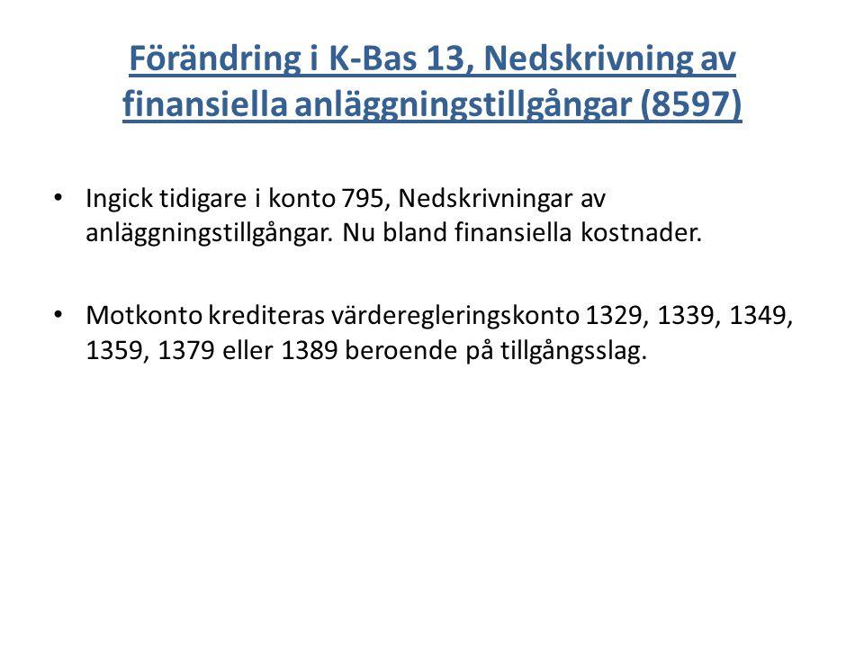 Förändring i K-Bas 13, Nedskrivning av finansiella anläggningstillgångar (8597) Ingick tidigare i konto 795, Nedskrivningar av anläggningstillgångar.
