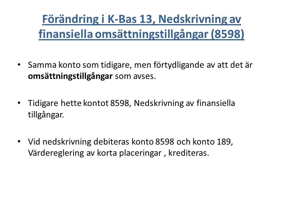 Förändring i K-Bas 13, Nedskrivning av finansiella omsättningstillgångar (8598) Samma konto som tidigare, men förtydligande av att det är omsättningstillgångar som avses.