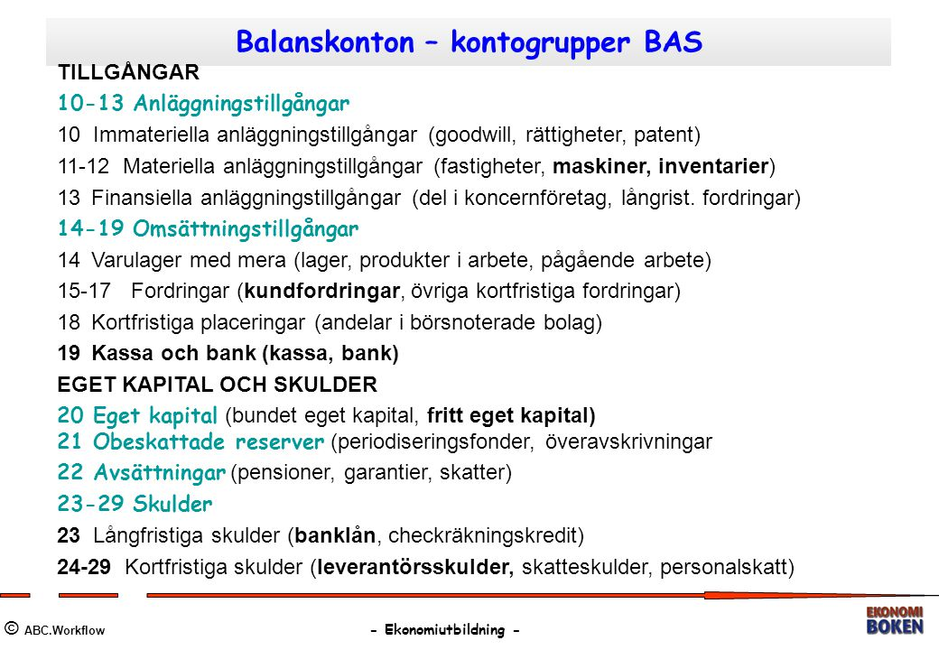 Balanskonton – kontogrupper BAS © ABC.Workflow - Ekonomiutbildning - TILLGÅNGAR 10-13 Anläggningstillgångar 10 Immateriella anläggningstillgångar (goo