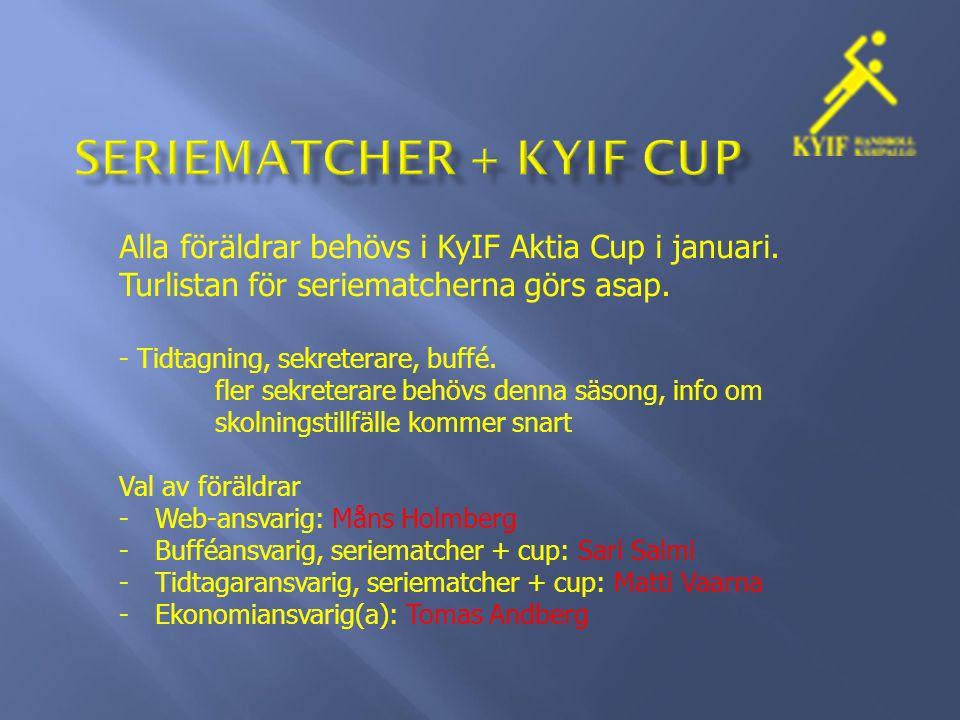 Alla föräldrar behövs i KyIF Aktia Cup i januari. Turlistan för seriematcherna görs asap.