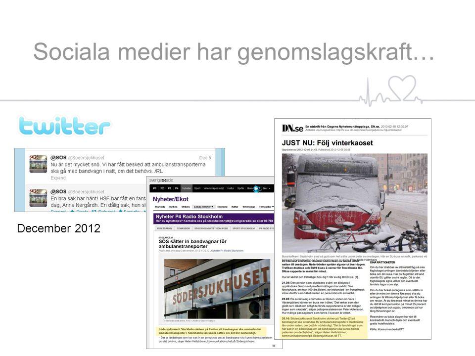 December 2012 Sociala medier har genomslagskraft…