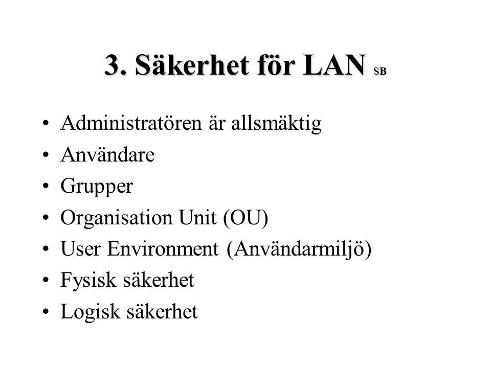 3. Säkerhet för LAN SB Administratören är allsmäktig Användare Grupper Organisation Unit (OU) User Environment (Användarmiljö) Fysisk säkerhet Logisk