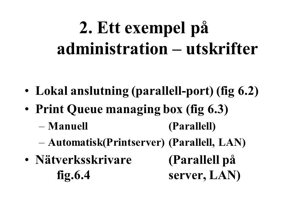 2. Ett exempel på administration – utskrifter Lokal anslutning (parallell-port) (fig 6.2) Print Queue managing box (fig 6.3) –Manuell(Parallell) –Auto