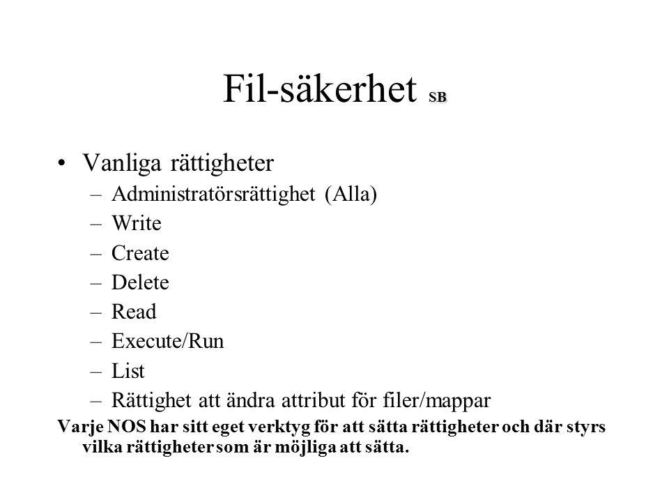 SB Fil-säkerhet SB Vanliga rättigheter –Administratörsrättighet (Alla) –Write –Create –Delete –Read –Execute/Run –List –Rättighet att ändra attribut f