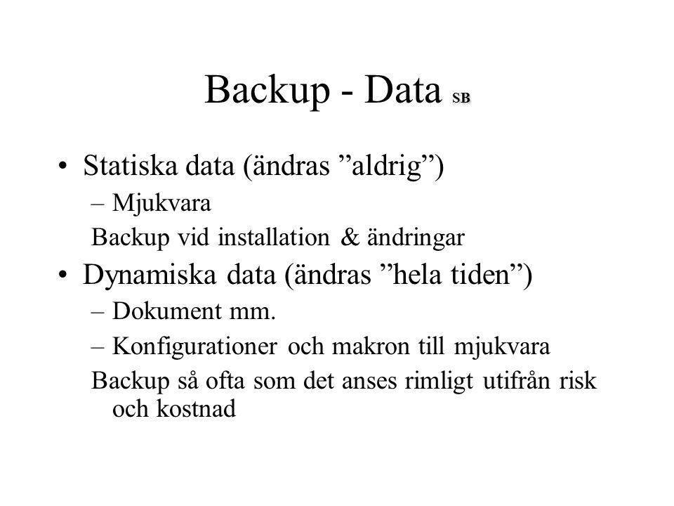 """SB Backup - Data SB Statiska data (ändras """"aldrig"""") –Mjukvara Backup vid installation & ändringar Dynamiska data (ändras """"hela tiden"""") –Dokument mm. –"""