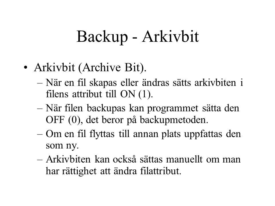 Backup - Arkivbit Arkivbit (Archive Bit). –När en fil skapas eller ändras sätts arkivbiten i filens attribut till ON (1). –När filen backupas kan prog