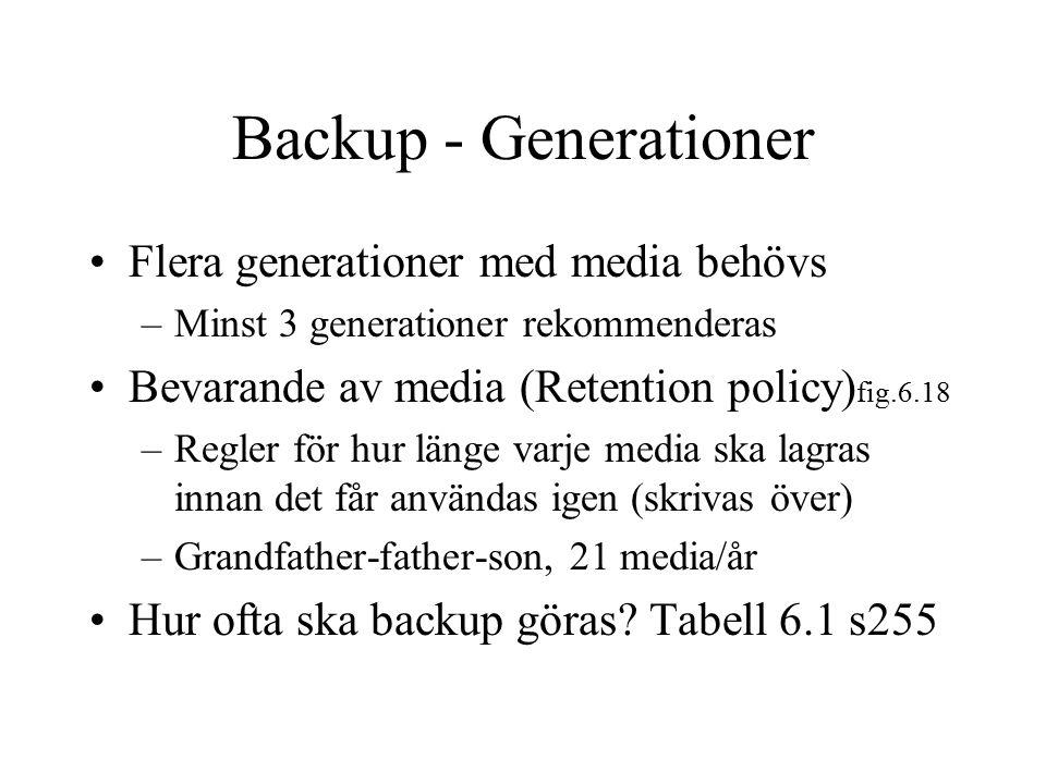 Backup - Generationer Flera generationer med media behövs –Minst 3 generationer rekommenderas Bevarande av media (Retention policy) fig.6.18 –Regler f