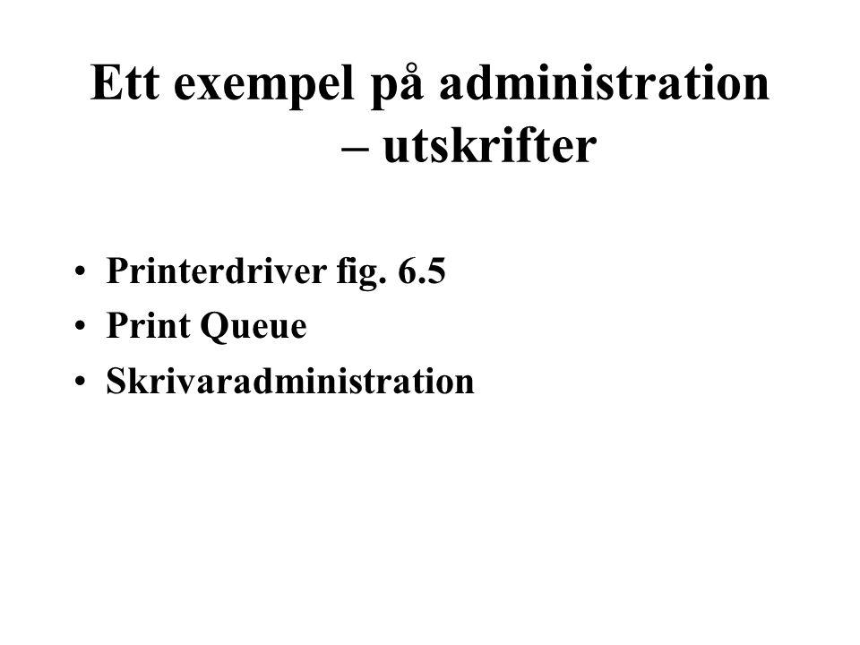 Ett exempel på administration – utskrifter Printerdriver fig. 6.5 Print Queue Skrivaradministration