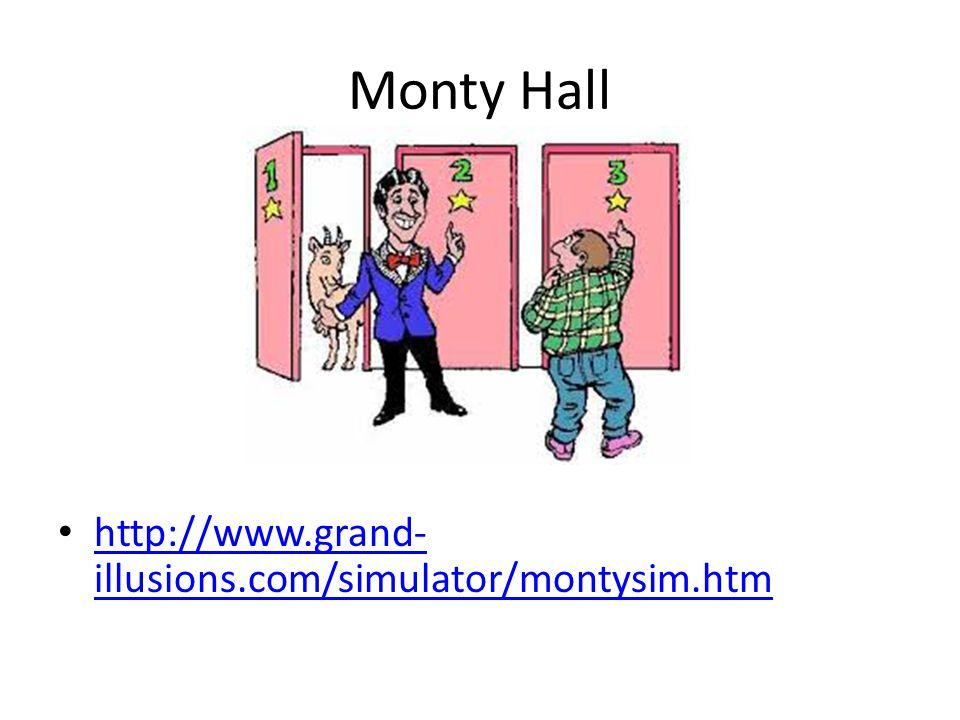 Monty Hall http://www.grand- illusions.com/simulator/montysim.htm http://www.grand- illusions.com/simulator/montysim.htm