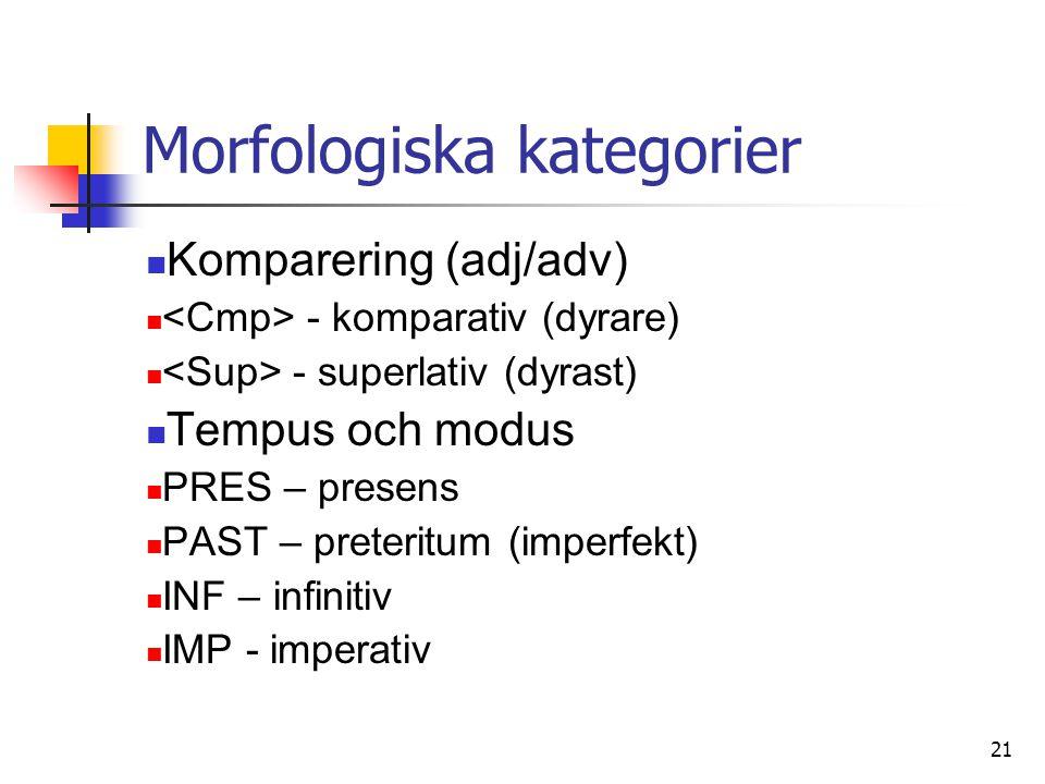 21 Morfologiska kategorier Komparering (adj/adv) - komparativ (dyrare) - superlativ (dyrast) Tempus och modus PRES – presens PAST – preteritum (imperfekt) INF – infinitiv IMP - imperativ