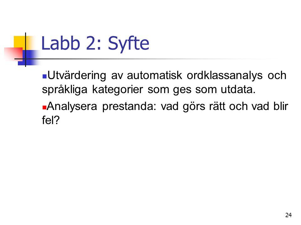 24 Labb 2: Syfte Utvärdering av automatisk ordklassanalys och språkliga kategorier som ges som utdata.
