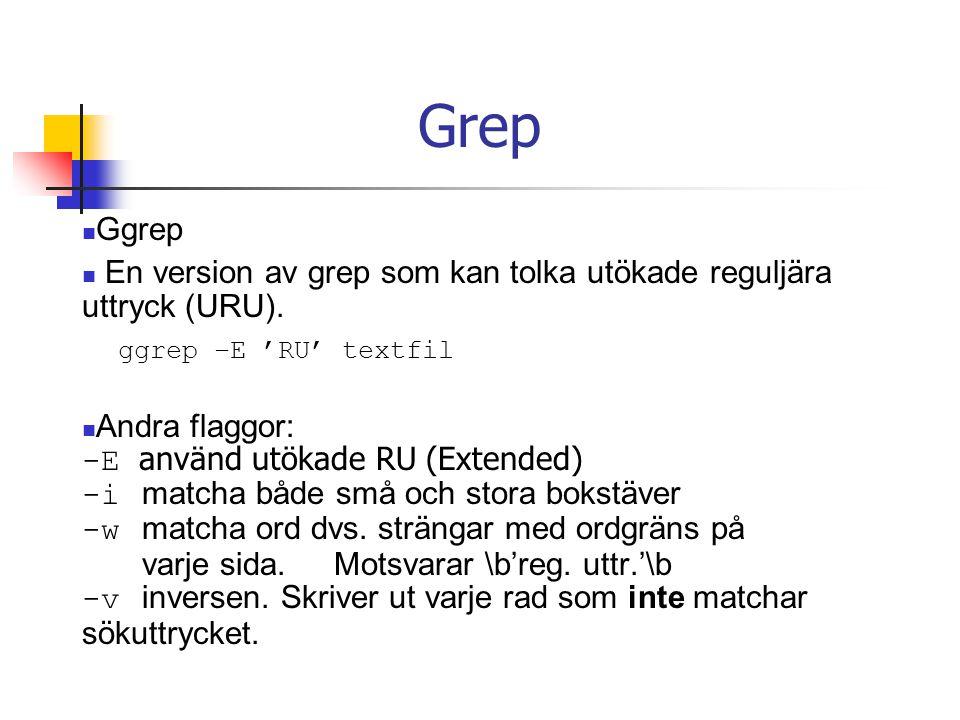 Grep Ggrep En version av grep som kan tolka utökade reguljära uttryck (URU).