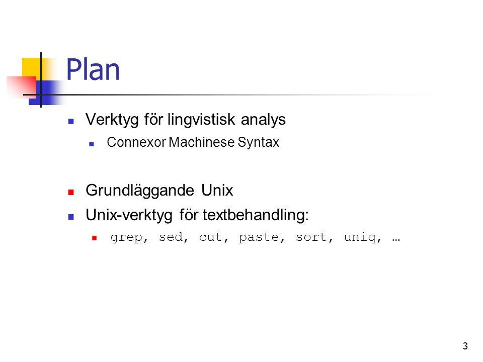 Fler Unix-verktyg cat – visa allt innehåll i en fil less – gå igenom innehållet i en fil q – avsluta /pattern – sök framåt ?pattern – sök bakåt more – ungefär som less head/tail – se början/slutet av en fil