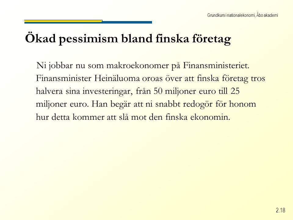 Grundkurs i nationalekonomi, Åbo akademi 2.18 Ökad pessimism bland finska företag Ni jobbar nu som makroekonomer på Finansministeriet.