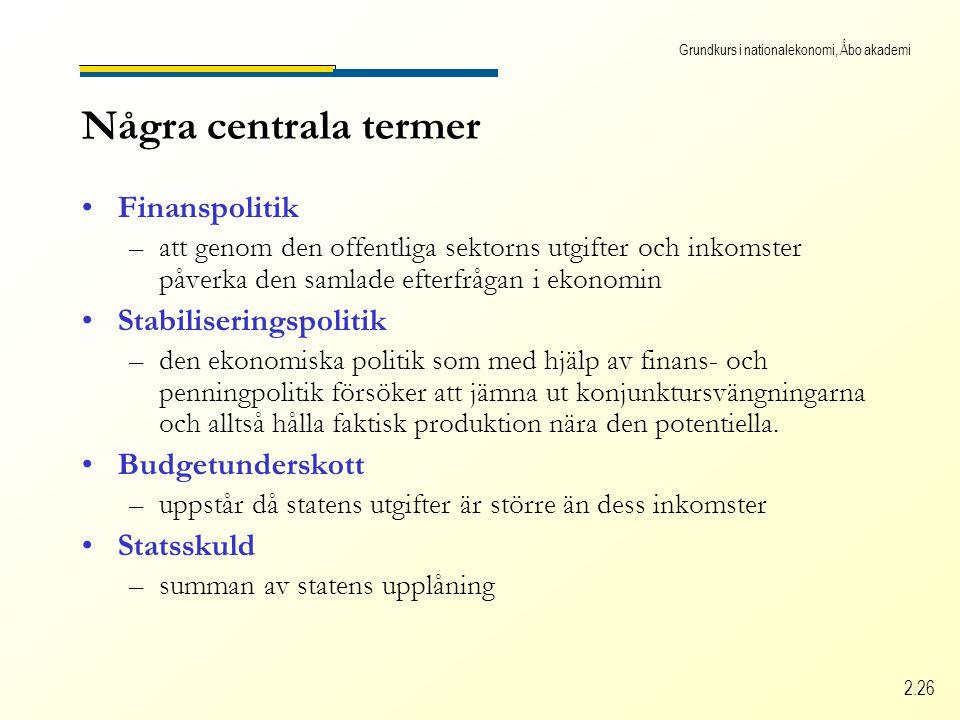 Grundkurs i nationalekonomi, Åbo akademi 2.26 Några centrala termer Finanspolitik –att genom den offentliga sektorns utgifter och inkomster påverka den samlade efterfrågan i ekonomin Stabiliseringspolitik –den ekonomiska politik som med hjälp av finans- och penningpolitik försöker att jämna ut konjunktursvängningarna och alltså hålla faktisk produktion nära den potentiella.