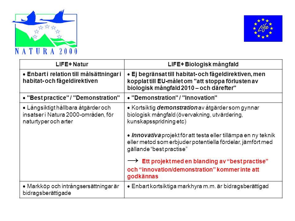 LIFE+ NaturLIFE+ Biologisk mångfald  Enbart i relation till målsättningar i habitat- och fågeldirektiven  Ej begränsat till habitat- och fågeldirekt