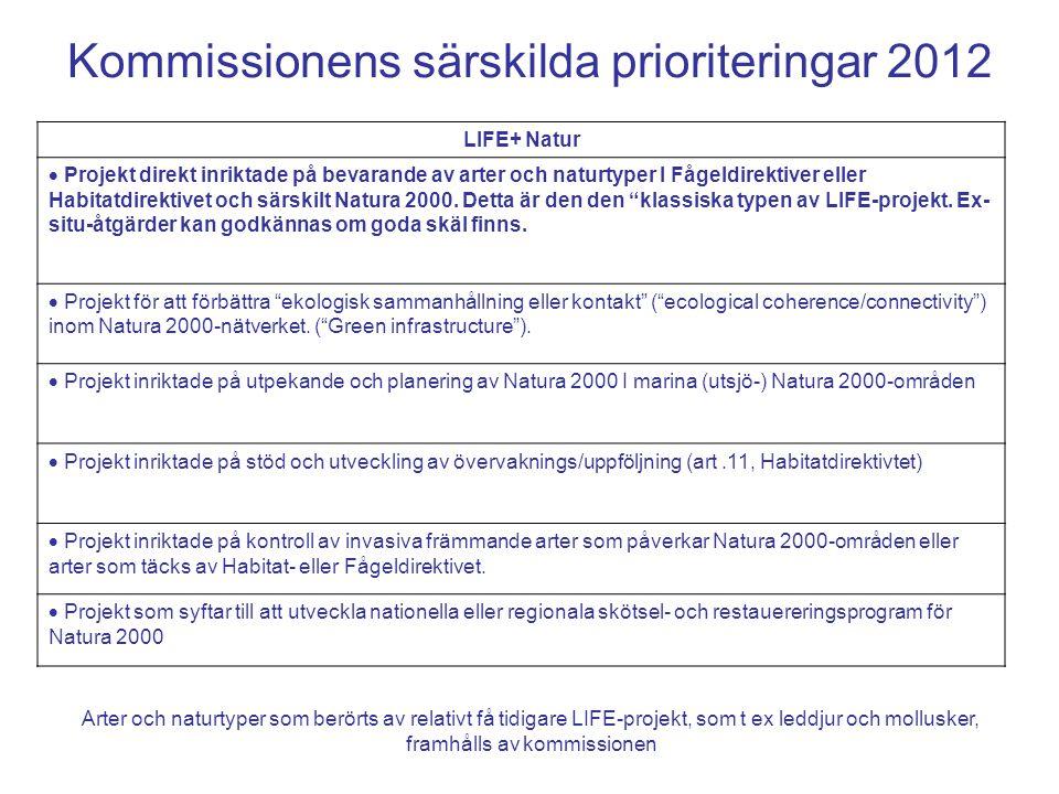 Kommissionens särskilda prioriteringar 2012 LIFE+ Natur  Projekt direkt inriktade på bevarande av arter och naturtyper I Fågeldirektiver eller Habita