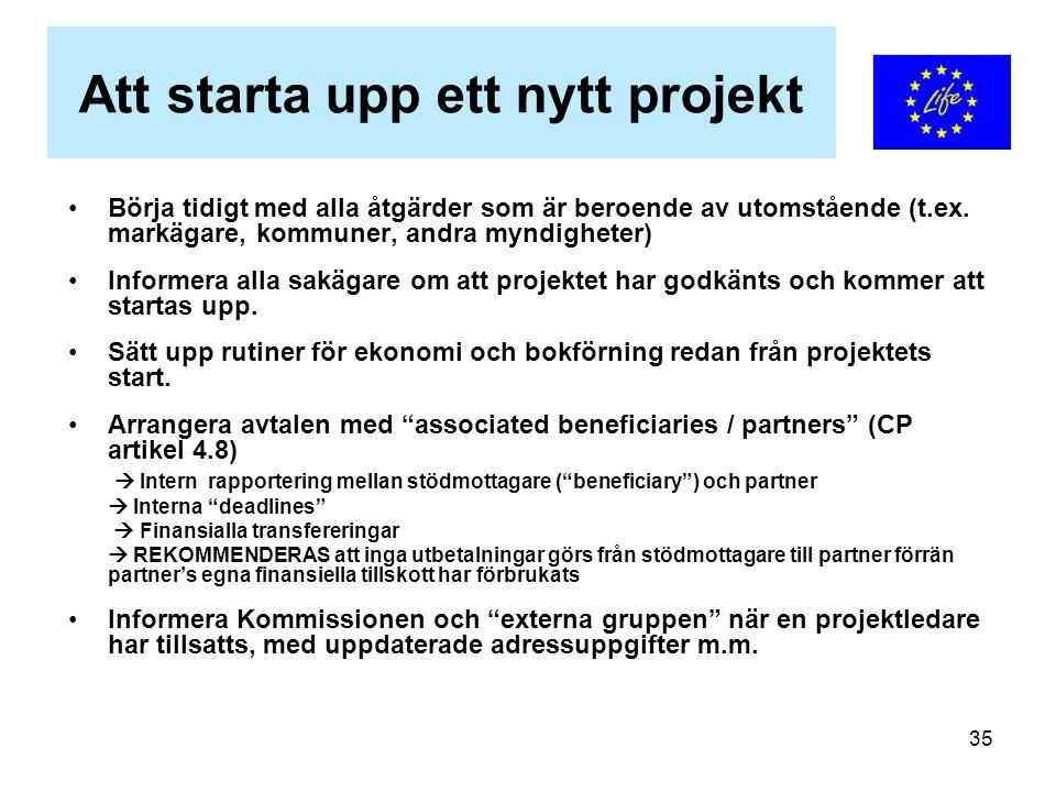 35 Att starta upp ett nytt projekt Börja tidigt med alla åtgärder som är beroende av utomstående (t.ex. markägare, kommuner, andra myndigheter) Inform