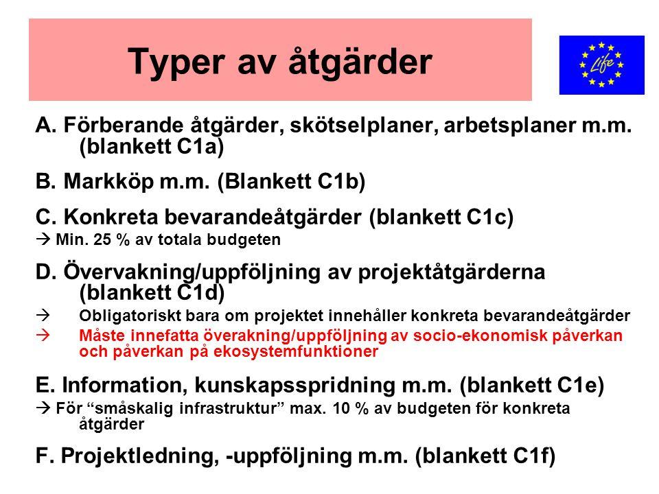 Typer av åtgärder A. Förberande åtgärder, skötselplaner, arbetsplaner m.m. (blankett C1a) B. Markköp m.m. (Blankett C1b) C. Konkreta bevarandeåtgärder