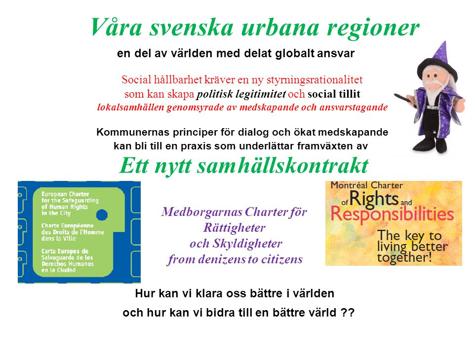 Medborgarnas Charter för Rättigheter och Skyldigheter from denizens to citizens Social hållbarhet kräver en ny styrningsrationalitet som kan skapa pol