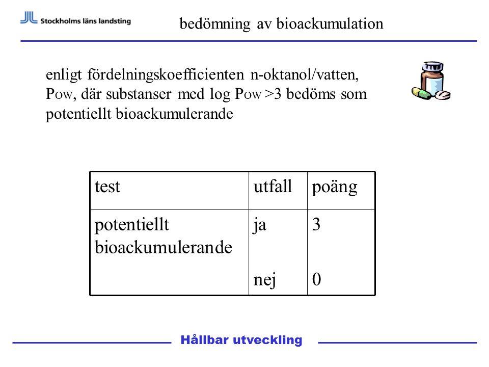 Hållbar utveckling bedömning av bioackumulation enligt fördelningskoefficienten n-oktanol/vatten, P OW, där substanser med log P OW >3 bedöms som potentiellt bioackumulerande 3030 ja nej potentiellt bioackumulerande poängutfalltest