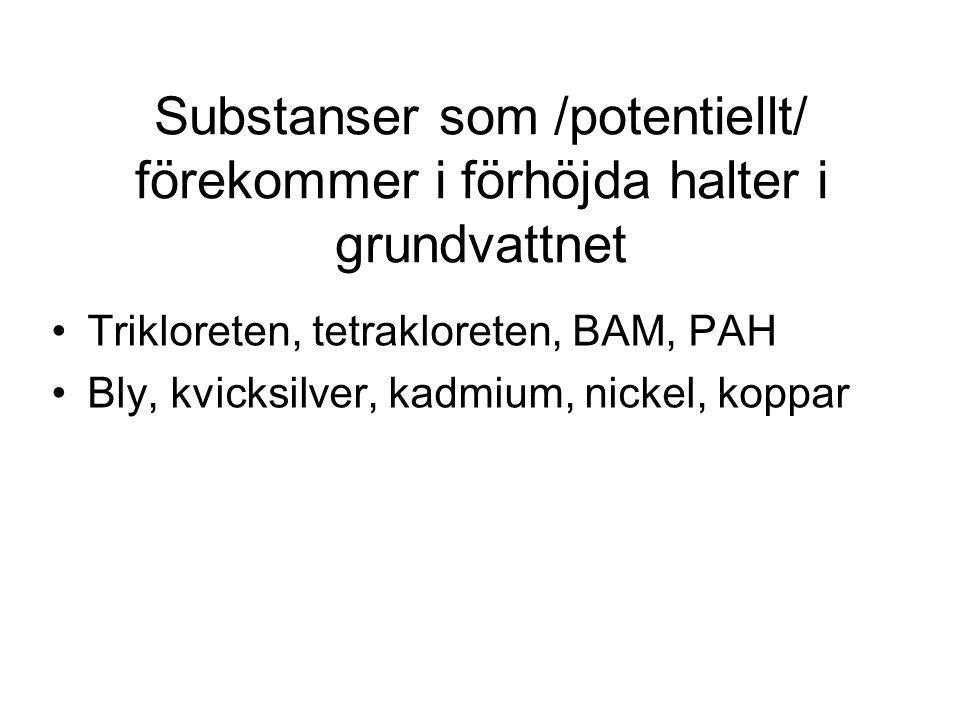Substanser som /potentiellt/ förekommer i förhöjda halter i grundvattnet Trikloreten, tetrakloreten, BAM, PAH Bly, kvicksilver, kadmium, nickel, koppa