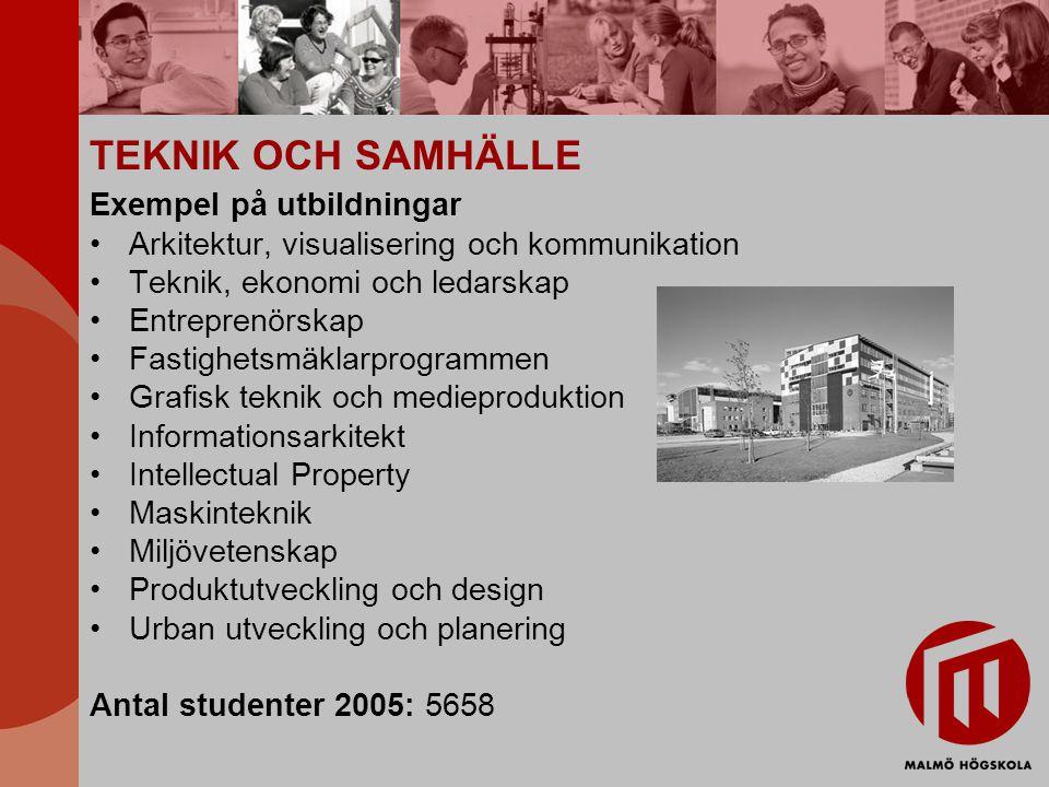 TEKNIK OCH SAMHÄLLE Exempel på utbildningar Arkitektur, visualisering och kommunikation Teknik, ekonomi och ledarskap Entreprenörskap Fastighetsmäklar