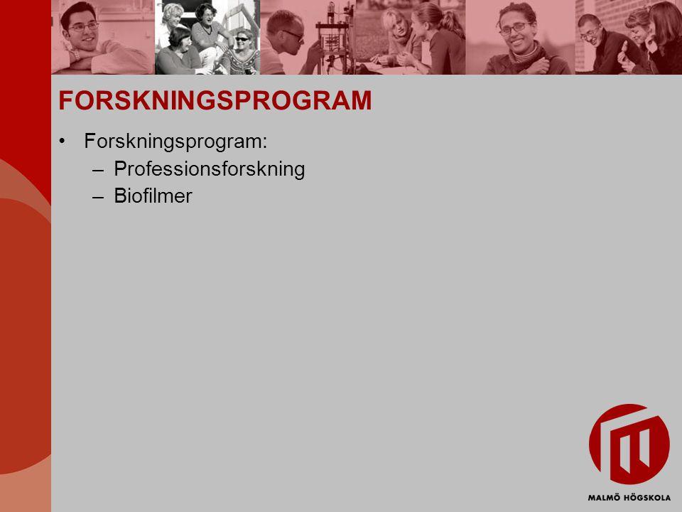 FORSKNINGSPROGRAM Forskningsprogram: –Professionsforskning –Biofilmer