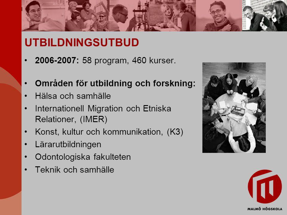 UTBILDNINGSUTBUD 2006-2007: 58 program, 460 kurser. Områden för utbildning och forskning: Hälsa och samhälle Internationell Migration och Etniska Rela