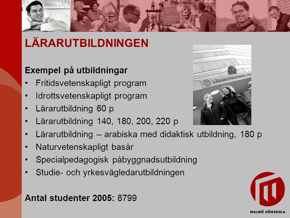 LÄRARUTBILDNINGEN Exempel på utbildningar Fritidsvetenskapligt program Idrottsvetenskapligt program Lärarutbildning 60 p Lärarutbildning 140, 180, 200