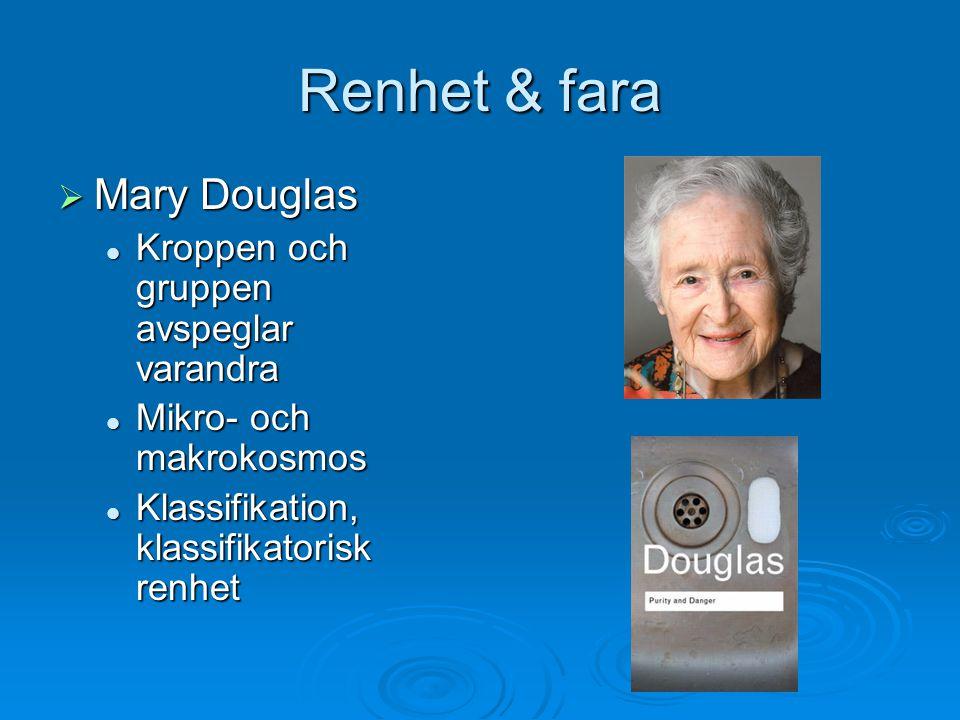 Renhet & fara  Mary Douglas Kroppen och gruppen avspeglar varandra Kroppen och gruppen avspeglar varandra Mikro- och makrokosmos Mikro- och makrokosm