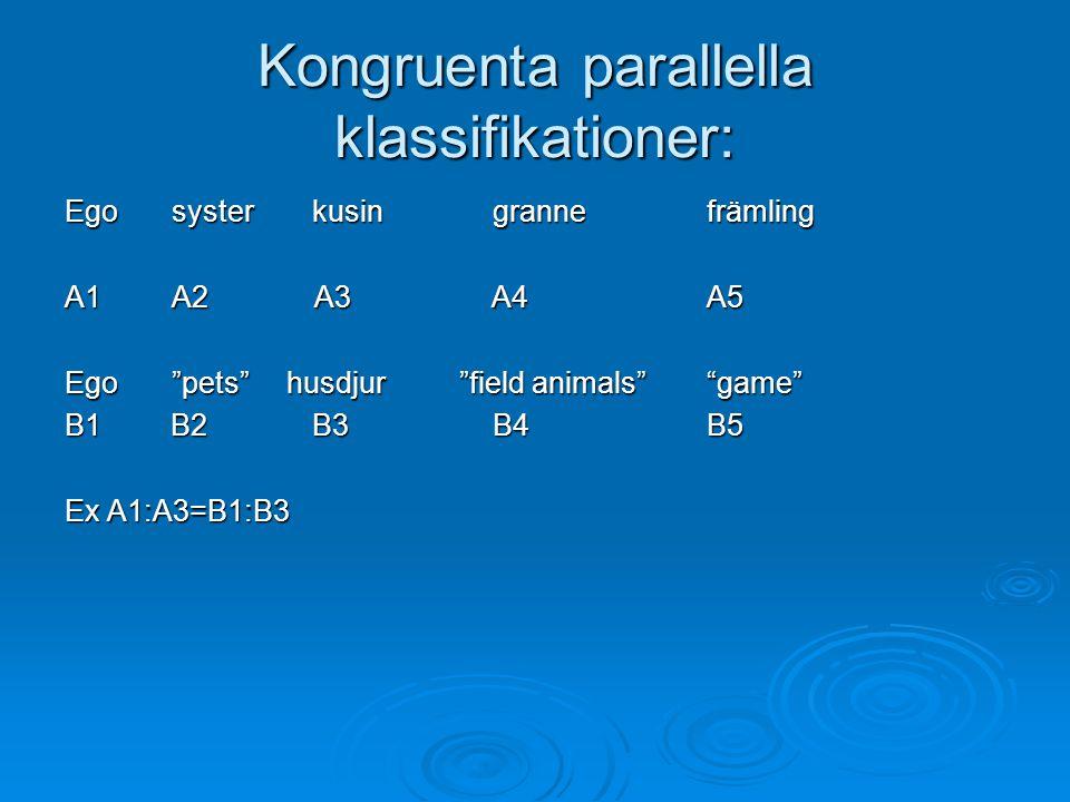 "Kongruenta parallella klassifikationer: Egosyster kusingrannefrämling A1A2 A3 A4A5 Ego""pets"" husdjur ""field animals""""game"" B1 B2 B3B4B5 Ex A1:A3=B1:B3"