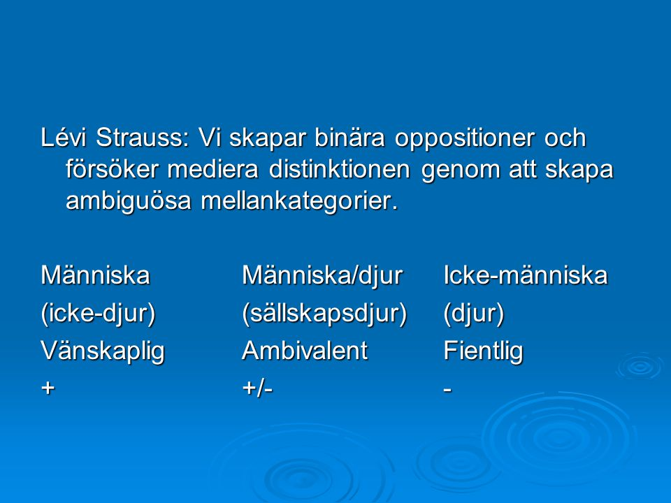 Lévi Strauss: Vi skapar binära oppositioner och försöker mediera distinktionen genom att skapa ambiguösa mellankategorier. MänniskaMänniska/djurIcke-m