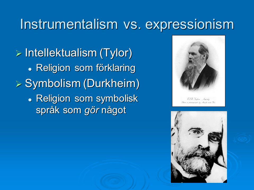 Instrumentalism vs. expressionism  Intellektualism (Tylor) Religion som förklaring Religion som förklaring  Symbolism (Durkheim) Religion som symbol