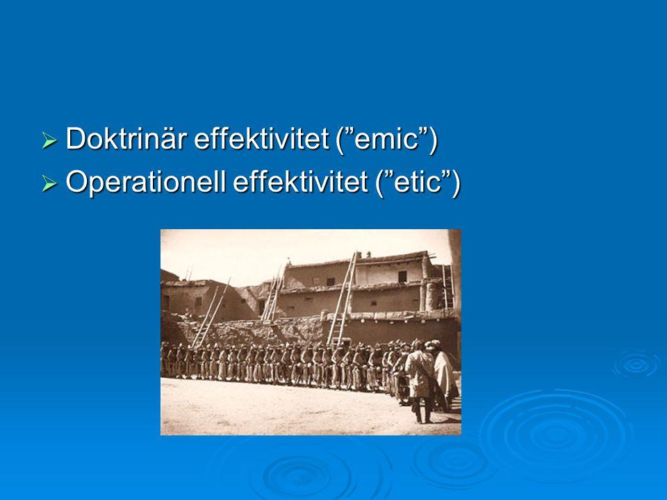 """ Doktrinär effektivitet (""""emic"""")  Operationell effektivitet (""""etic"""")"""