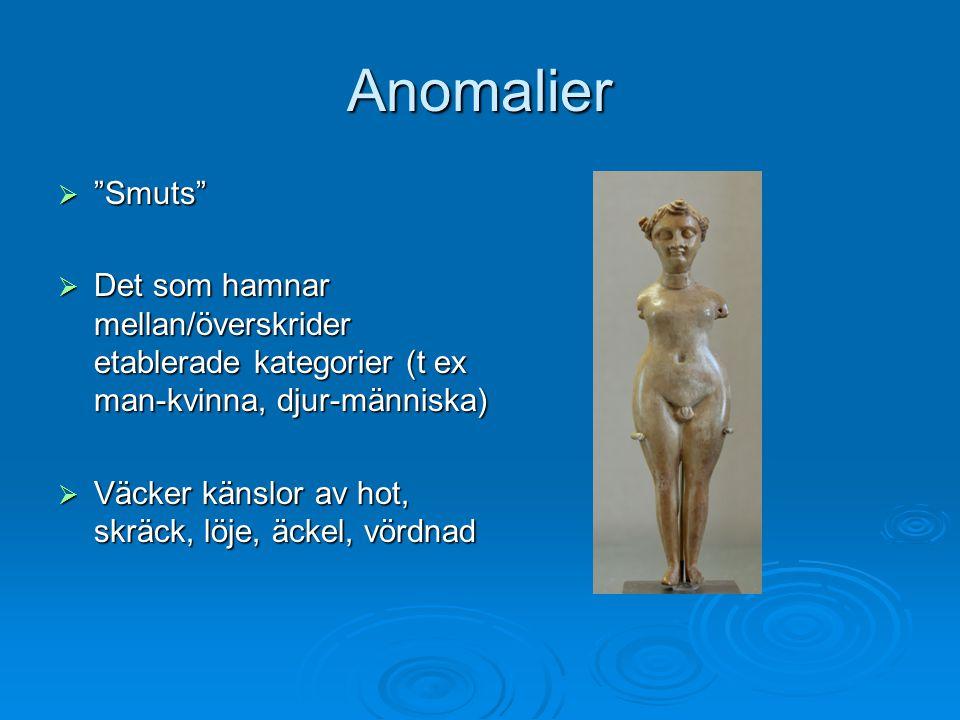 """Anomalier  """"Smuts""""  Det som hamnar mellan/överskrider etablerade kategorier (t ex man-kvinna, djur-människa)  Väcker känslor av hot, skräck, löje,"""