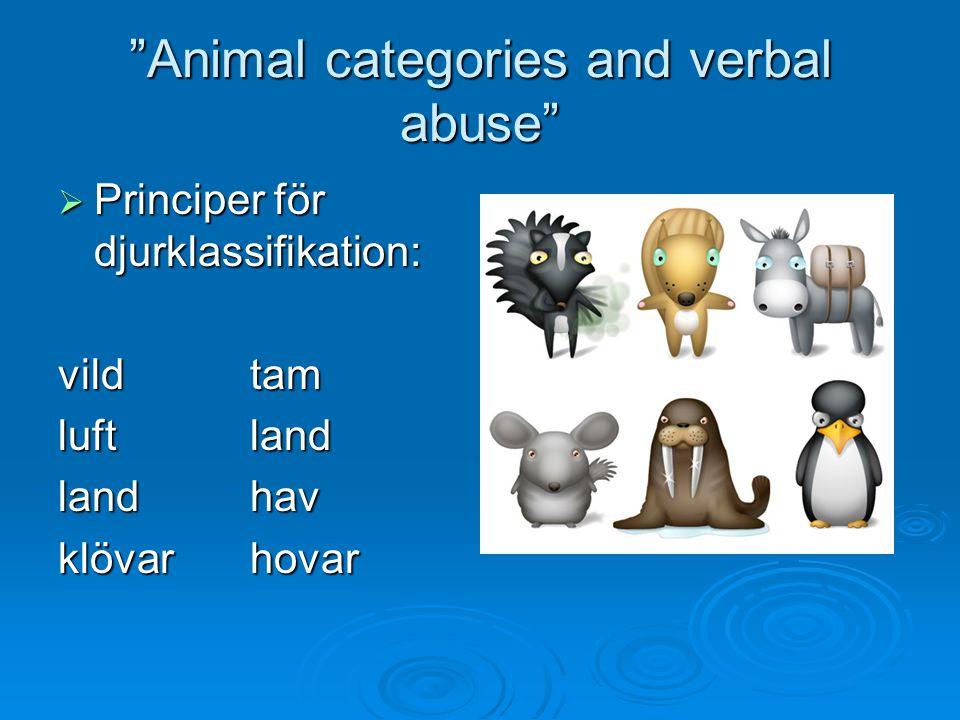 """""""Animal categories and verbal abuse""""  Principer för djurklassifikation: vild tam luftland landhav klövarhovar"""