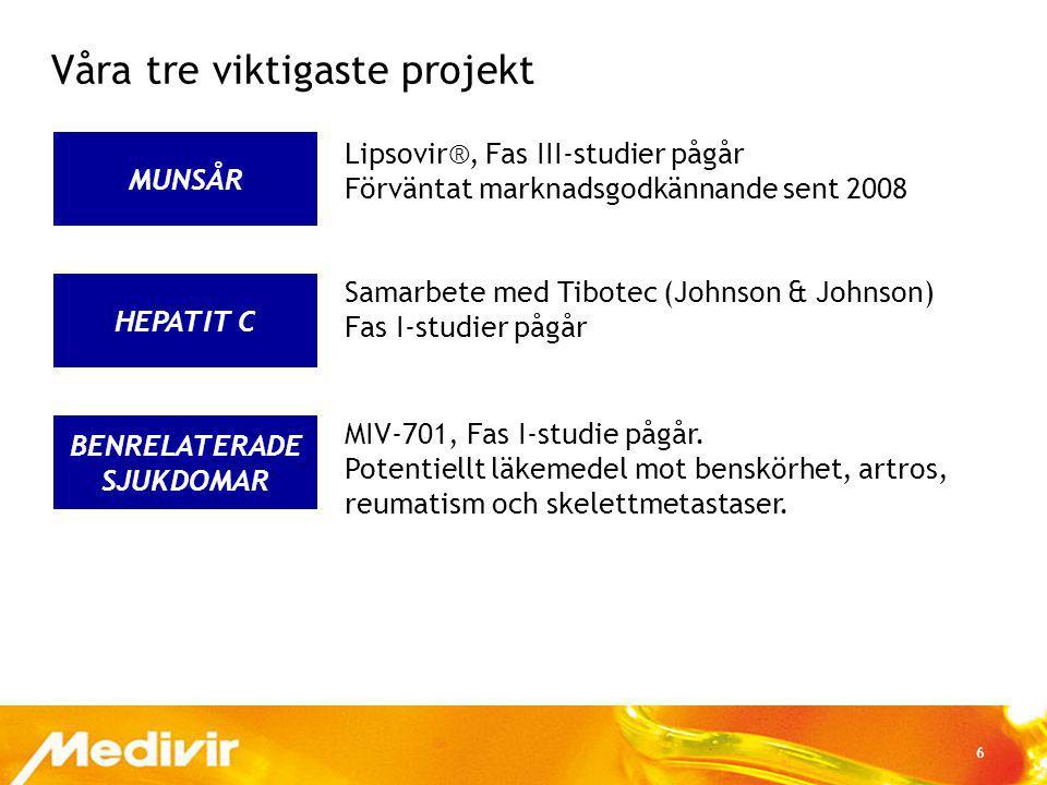 6 BENRELATERADE SJUKDOMAR HEPATIT C MUNSÅR Våra tre viktigaste projekt Lipsovir®, Fas III-studier pågår Förväntat marknadsgodkännande sent 2008 Samarb