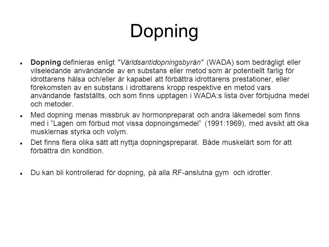 Dopning Dopning definieras enligt