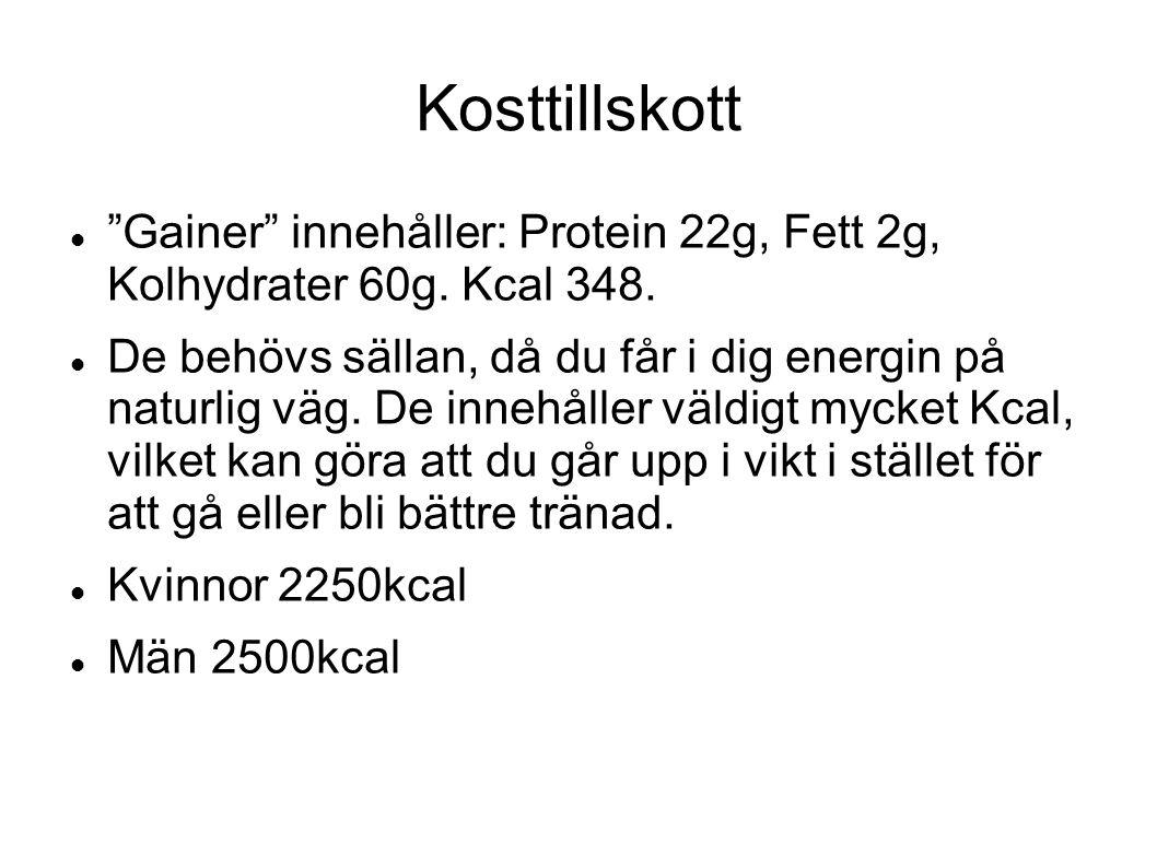 """Kosttillskott """"Gainer"""" innehåller: Protein 22g, Fett 2g, Kolhydrater 60g. Kcal 348. De behövs sällan, då du får i dig energin på naturlig väg. De inne"""