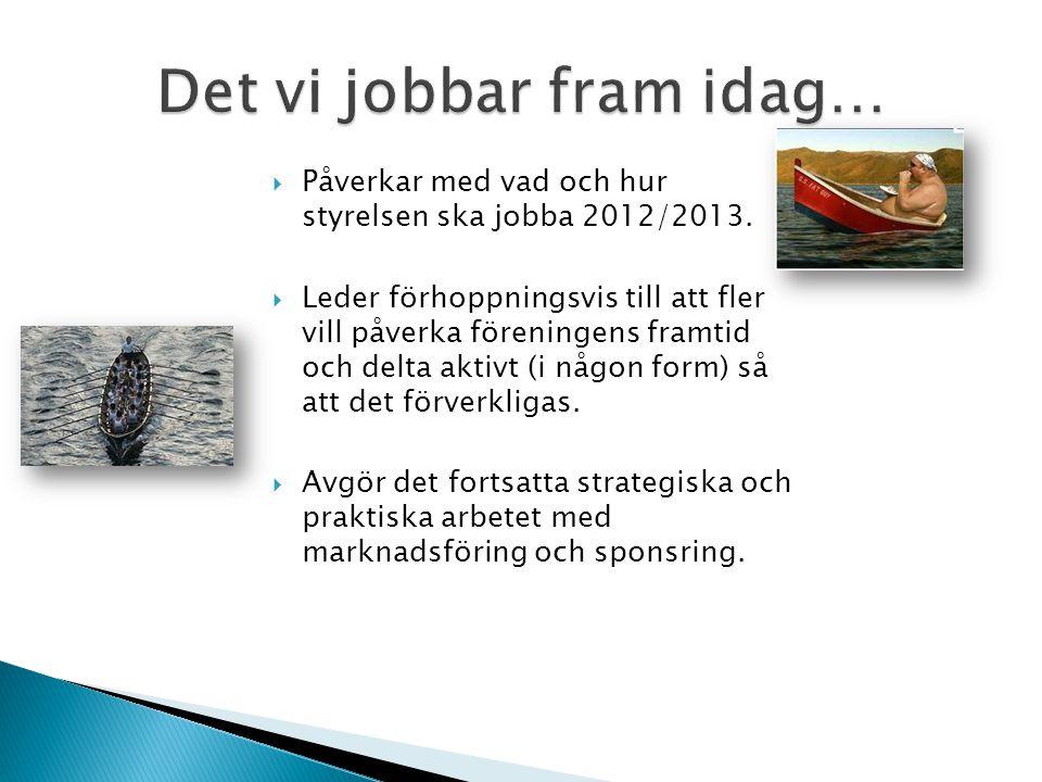  Påverkar med vad och hur styrelsen ska jobba 2012/2013.