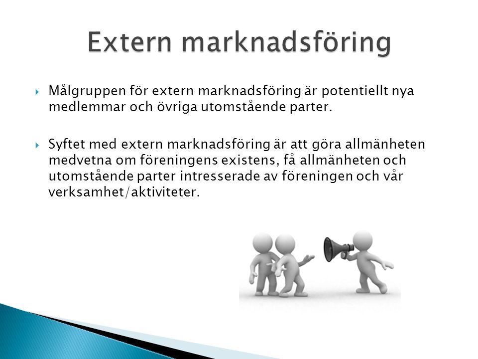  Målgruppen för extern marknadsföring är potentiellt nya medlemmar och övriga utomstående parter.