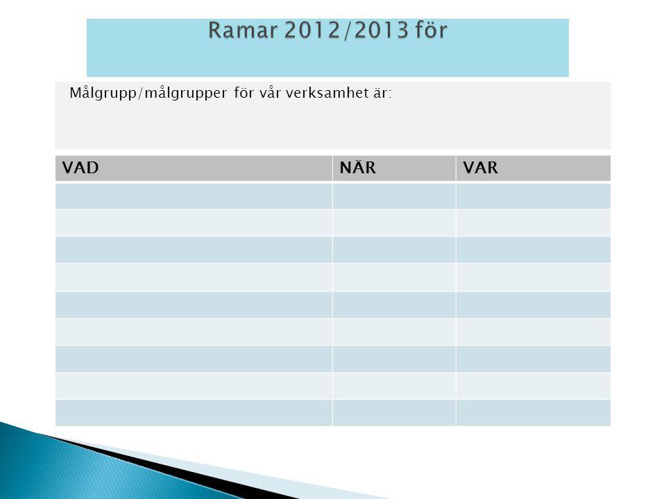 Målgrupp/målgrupper för vår verksamhet är: VADNÄRVAR